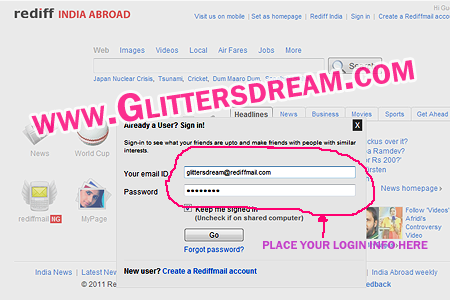 rediffmail login email